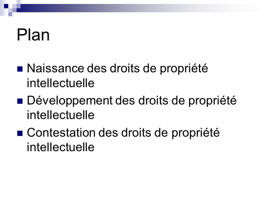 Plan Naissance des droits de propriété intellectuelle Développement des droits de propriété intellectuelle Contestation des droits de propriété intell