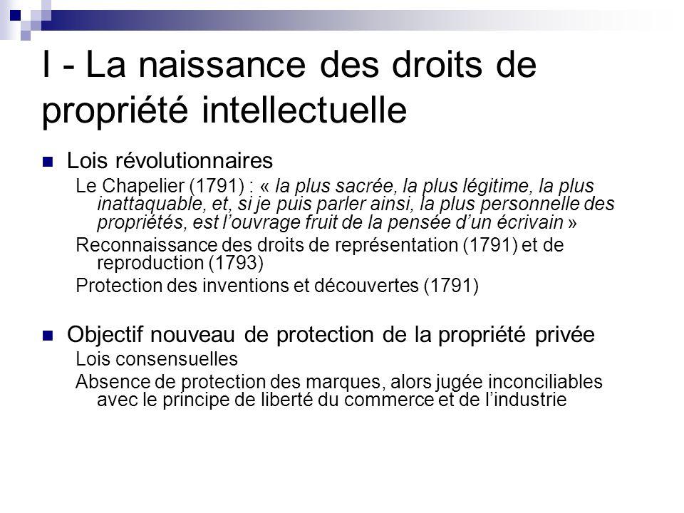I - La naissance des droits de propriété intellectuelle Lois révolutionnaires Le Chapelier (1791) : « la plus sacrée, la plus légitime, la plus inatta