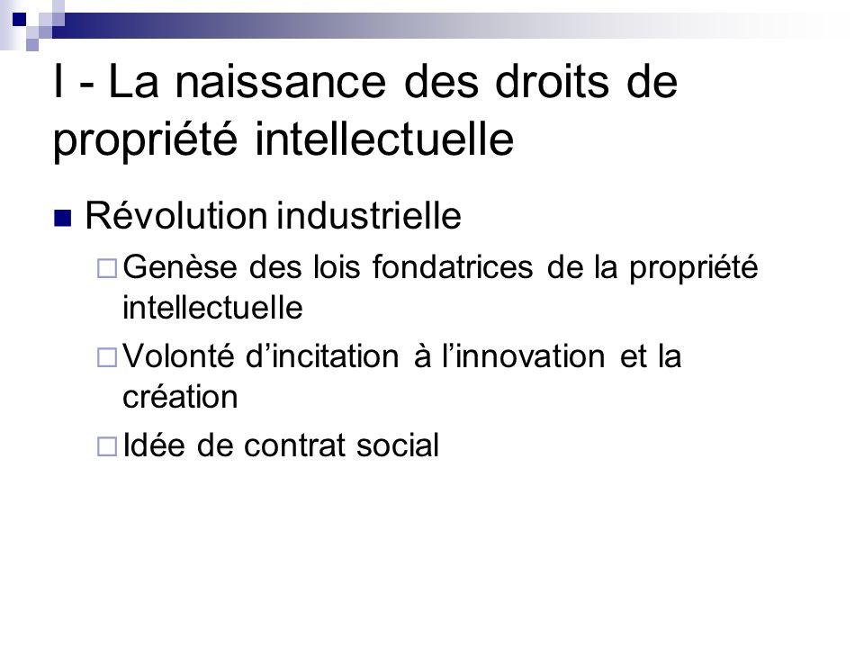 I - La naissance des droits de propriété intellectuelle Révolution industrielle Genèse des lois fondatrices de la propriété intellectuelle Volonté din