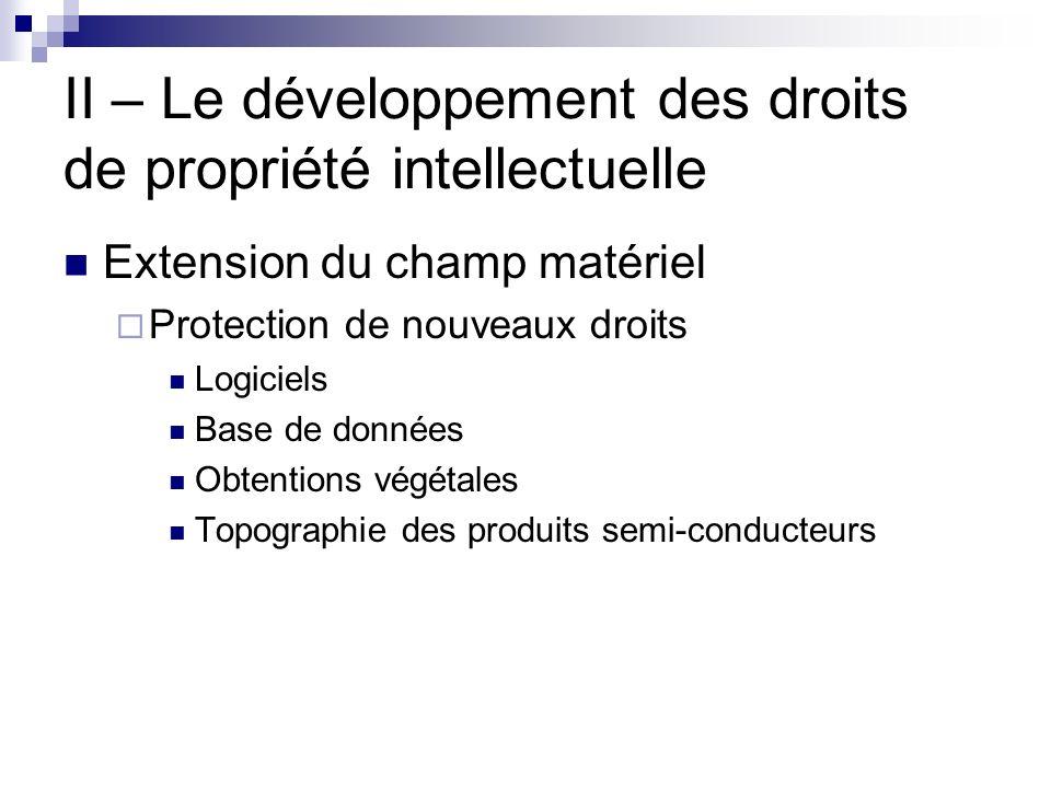 II – Le développement des droits de propriété intellectuelle Extension du champ matériel Protection de nouveaux droits Logiciels Base de données Obten