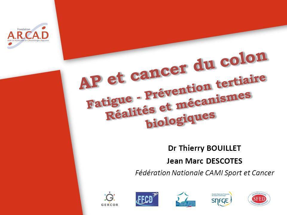 AP et cancer du colon Fatigue - Prévention tertiaire Réalités et mécanismes biologiques AP et cancer du colon Fatigue - Prévention tertiaire Réalités