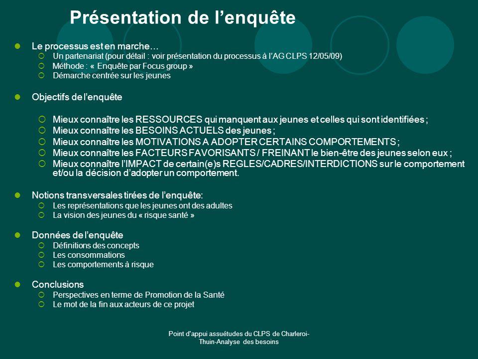 Point d'appui assuétudes du CLPS de Charleroi- Thuin-Analyse des besoins Présentation de lenquête Le processus est en marche… Un partenariat (pour dét