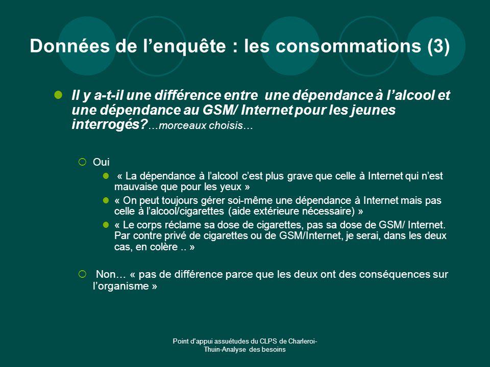 Point d'appui assuétudes du CLPS de Charleroi- Thuin-Analyse des besoins Données de lenquête : les consommations (3) Il y a-t-il une différence entre