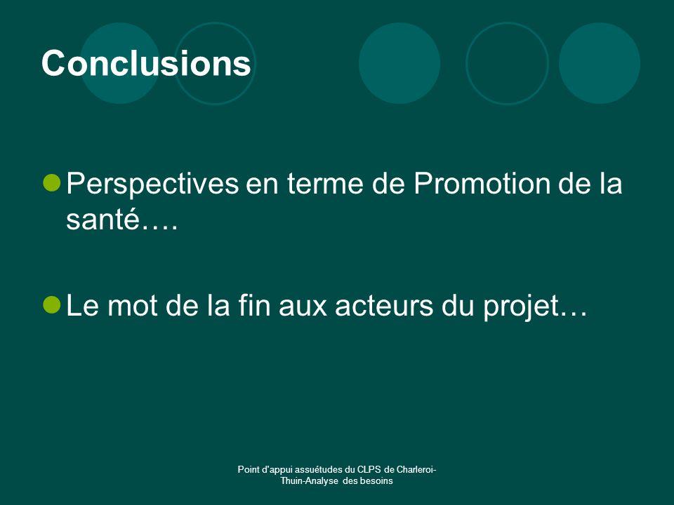 Point d'appui assuétudes du CLPS de Charleroi- Thuin-Analyse des besoins Conclusions Perspectives en terme de Promotion de la santé…. Le mot de la fin