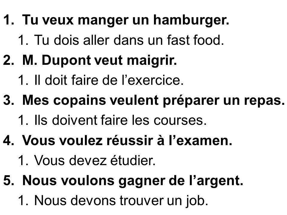 1.Tu veux manger un hamburger. 1.Tu dois aller dans un fast food. 2.M. Dupont veut maigrir. 1.Il doit faire de lexercice. 3.Mes copains veulent prépar