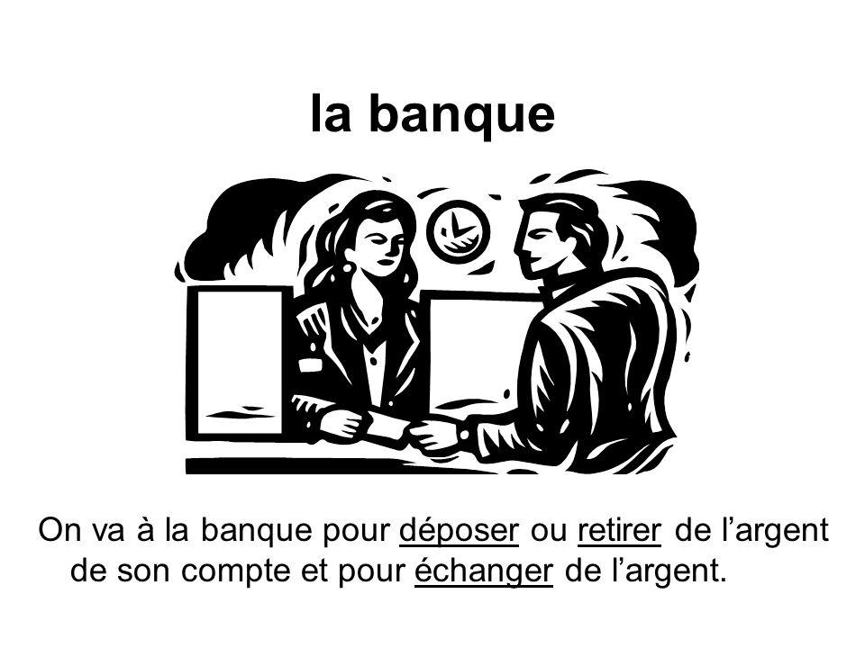 la banque On va à la banque pour déposer ou retirer de largent de son compte et pour échanger de largent.