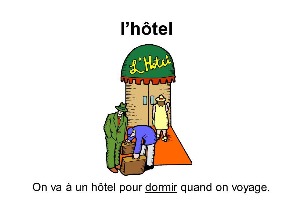 lhôtel On va à un hôtel pour dormir quand on voyage.