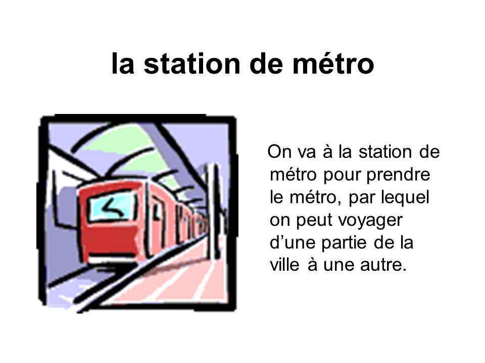 la station de métro On va à la station de métro pour prendre le métro, par lequel on peut voyager dune partie de la ville à une autre.
