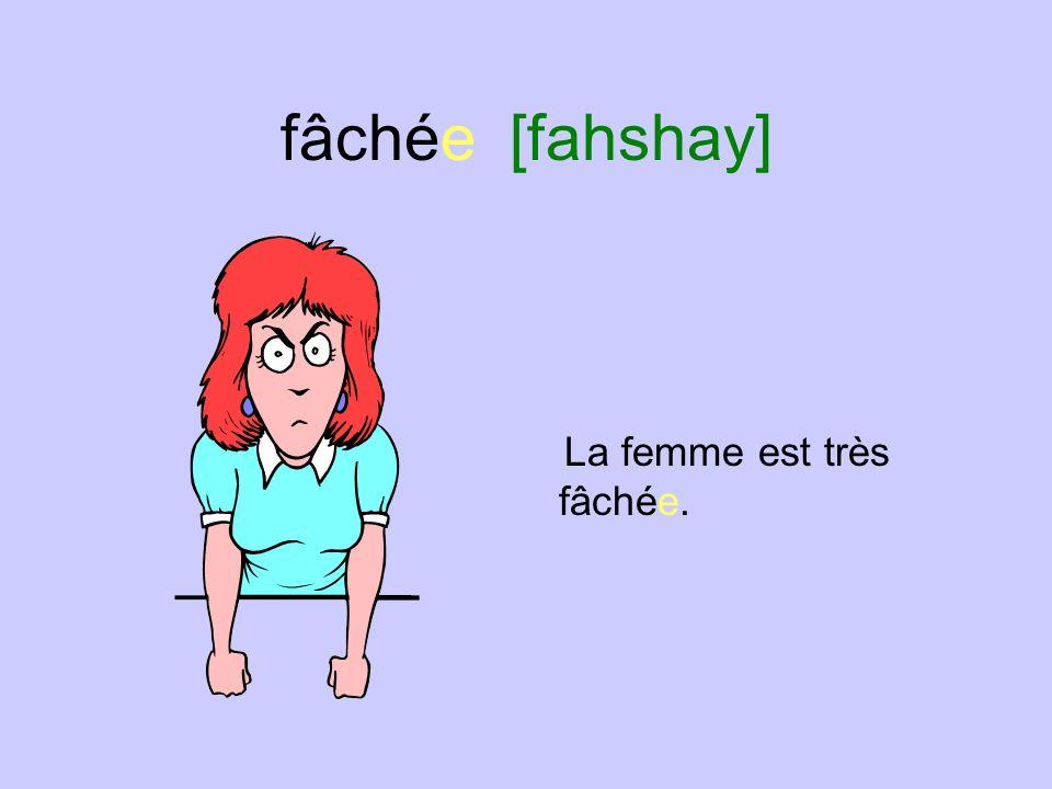 fâché [fahshay] Lhomme est très fâché.