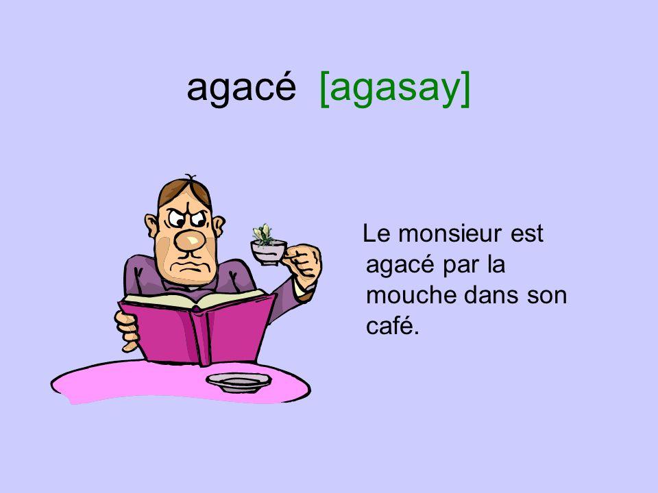 agacé [agasay] Le monsieur est agacé par la mouche dans son café.