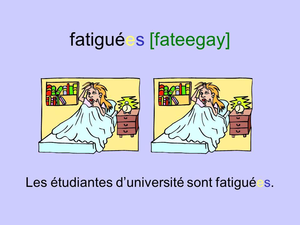 fatigués [fateegay] Les hommes daffaires sont fatigués.