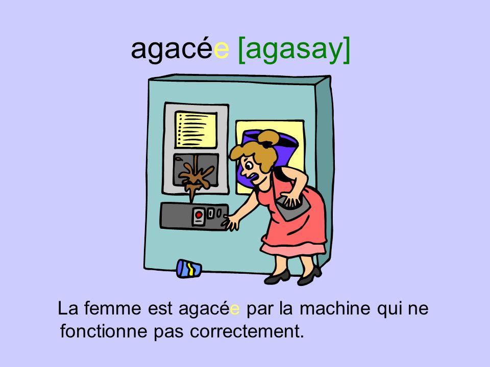 agacée [agasay] La femme est agacée par la machine qui ne fonctionne pas correctement.