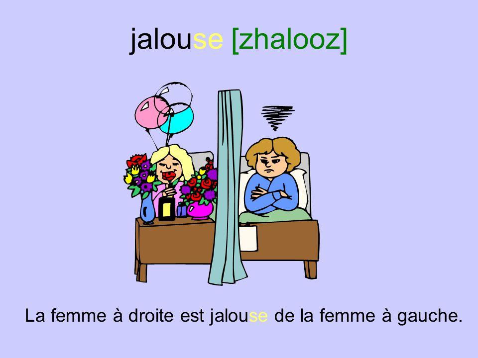 jaloux [zhaloo] Le Français est jaloux.