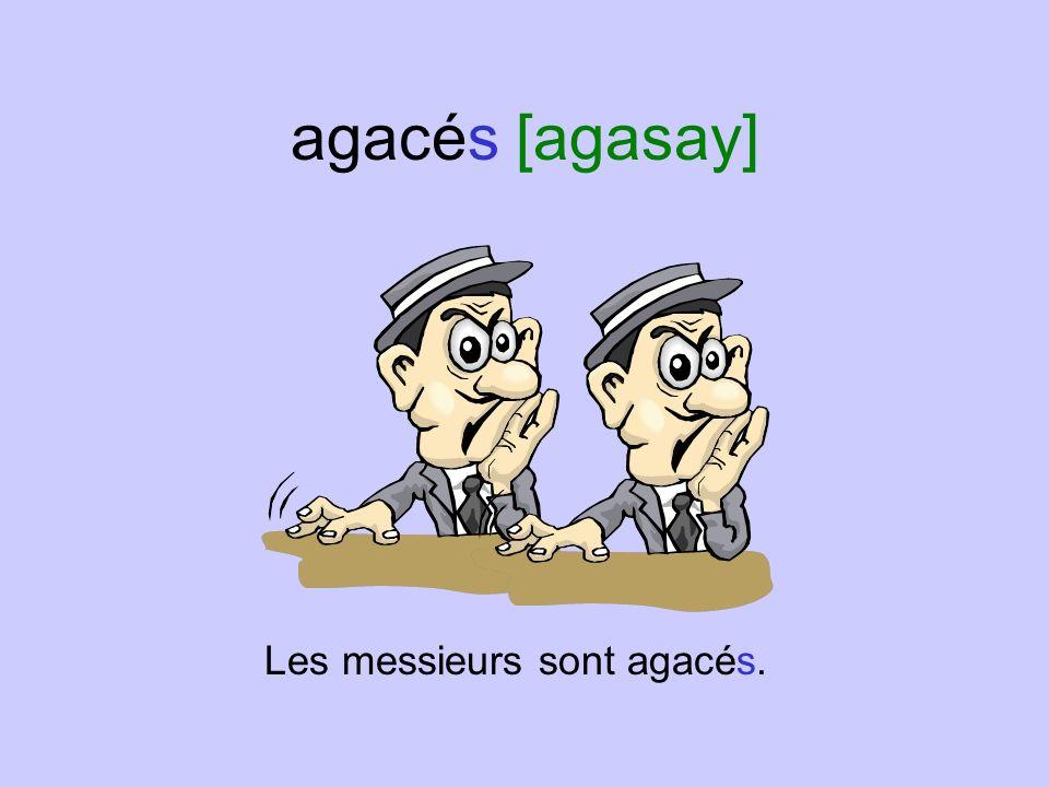 agacés [agasay] Les messieurs sont agacés.