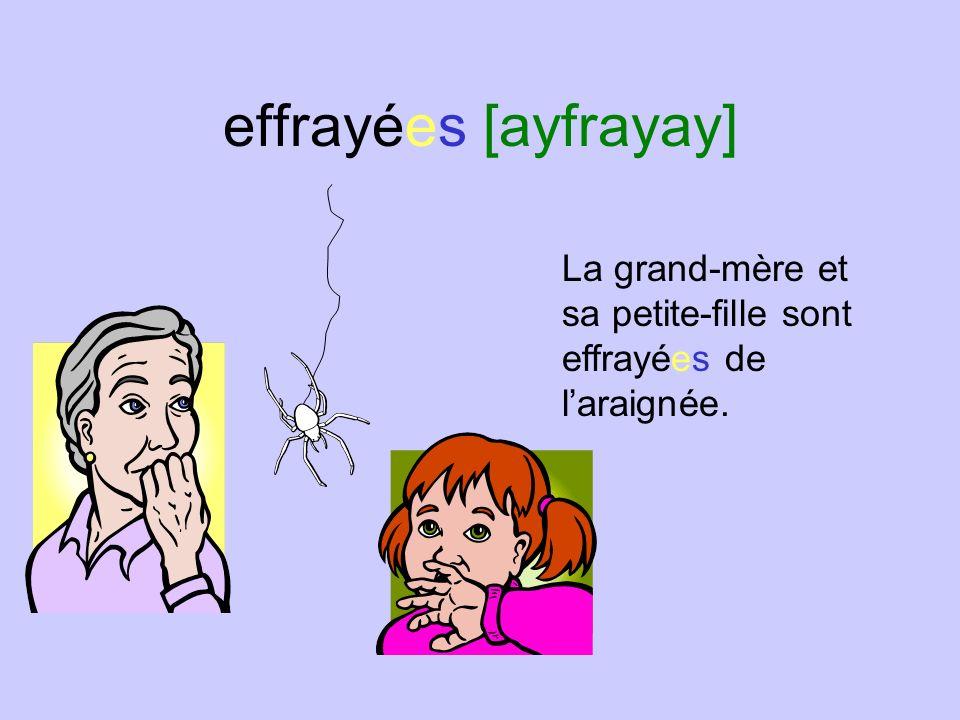 effrayées [ayfrayay] La grand-mère et sa petite-fille sont effrayées de laraignée.