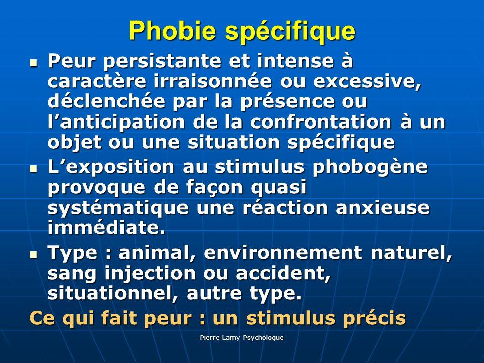Pierre Lamy Psychologue Phobie spécifique Peur persistante et intense à caractère irraisonnée ou excessive, déclenchée par la présence ou lanticipatio
