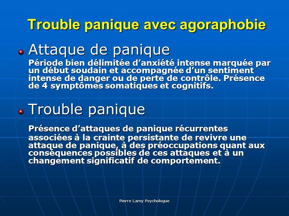 Pierre Lamy Psychologue Trouble panique avec agoraphobie Trouble panique avec agoraphobie Attaque de panique Période bien délimitée danxiété intense m