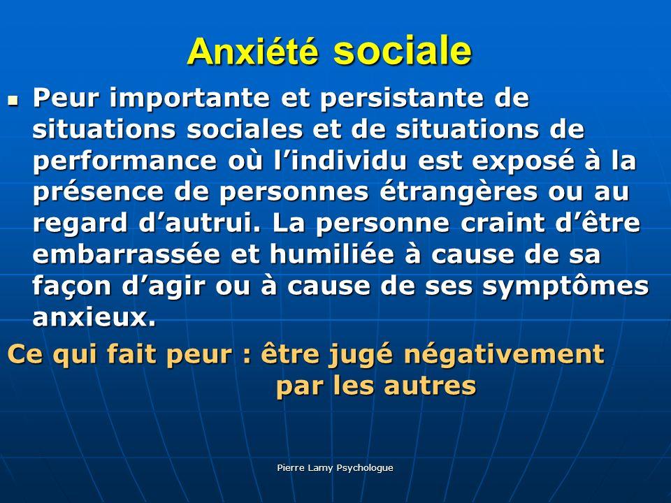 Pierre Lamy Psychologue Anxiété sociale Peur Peur importante et persistante de situations sociales et de situations de performance où lindividu est ex
