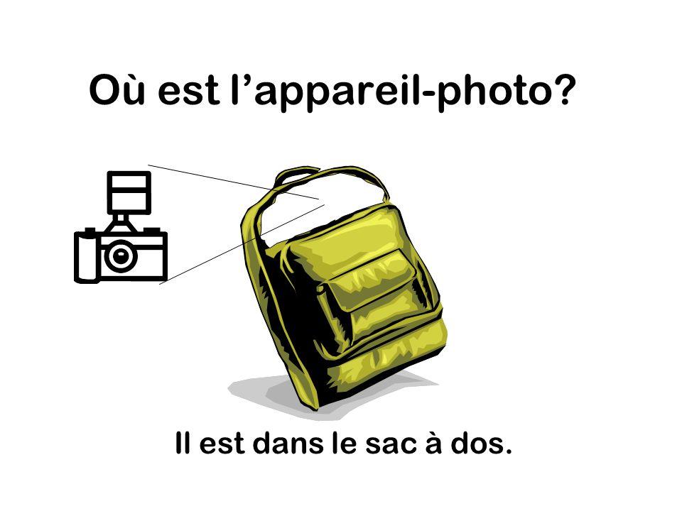 Où est lappareil-photo Il est dans le sac à dos.