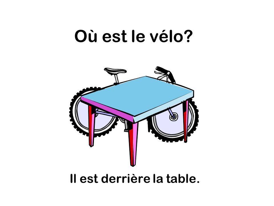 Où est le vélo Il est derrière la table.