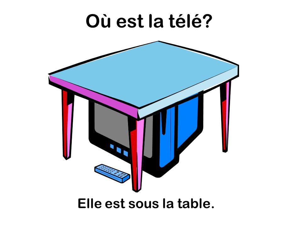 Où est la télé Elle est sous la table.
