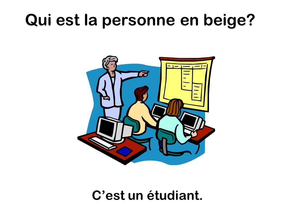 Qui est la personne en beige Cest un étudiant.