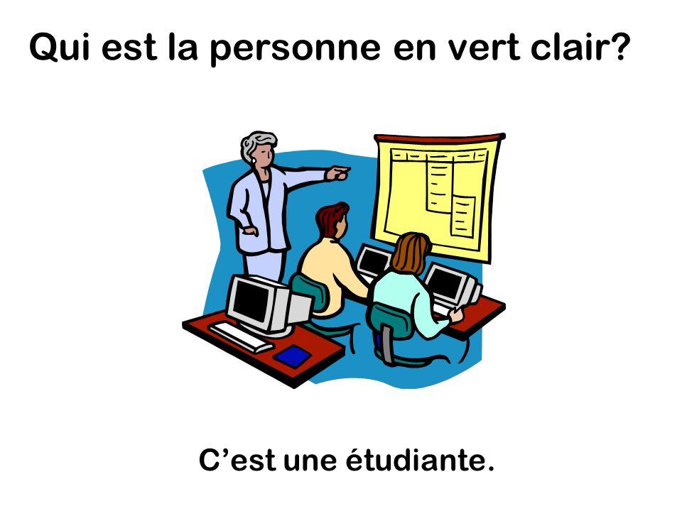 Qui est la personne en vert clair Cest une étudiante.