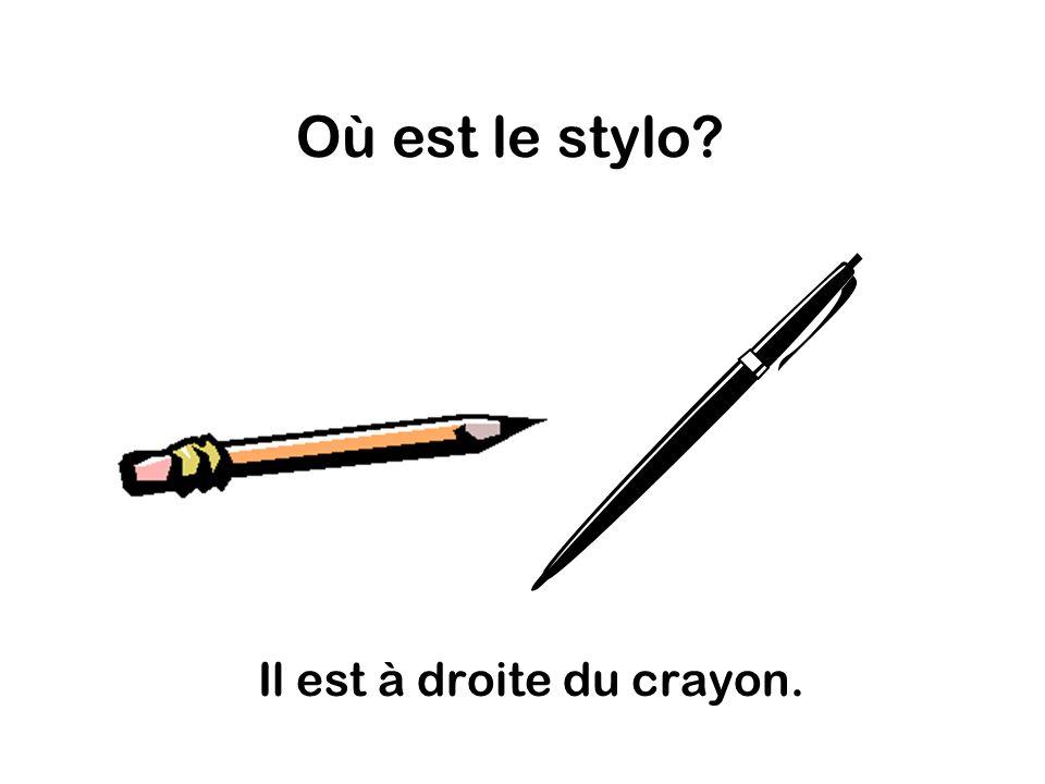 Où est le stylo Il est à droite du crayon.