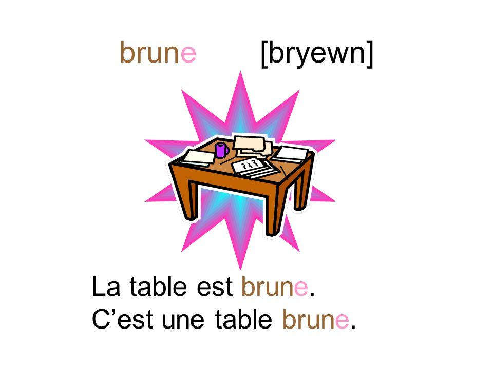 brun [brũ] Lordinateur est brun. Cest un ordinateur brun.