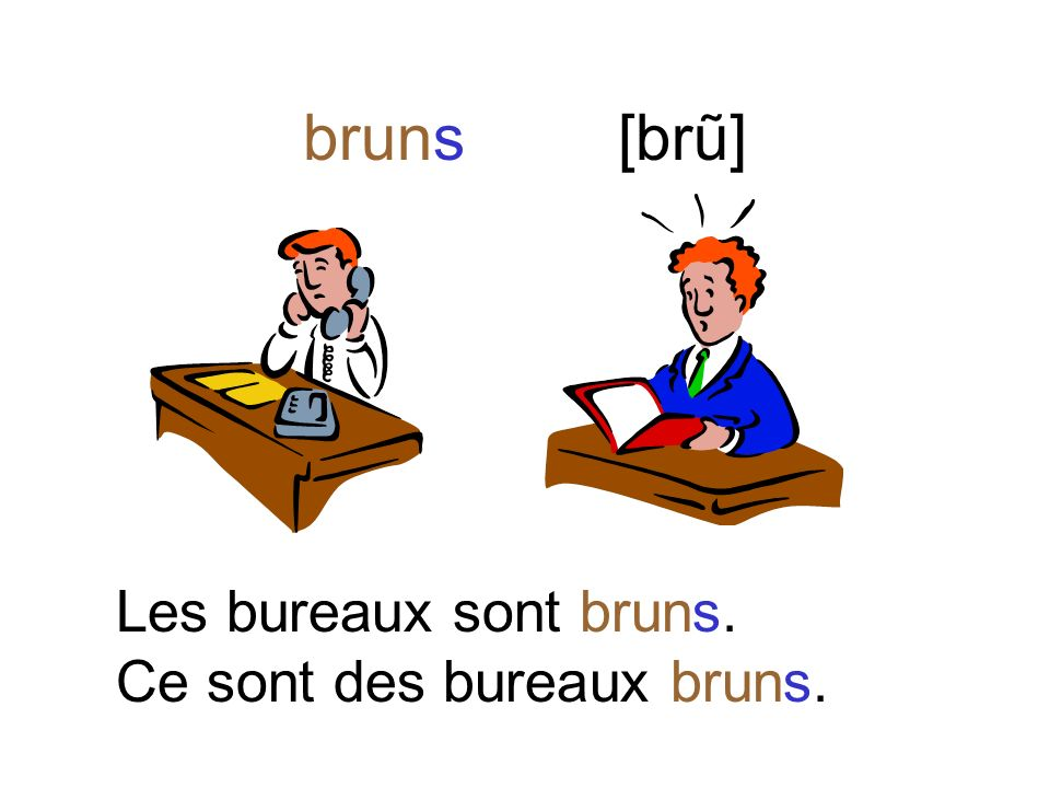 brune [bryewn] La table est brune. Cest une table brune.