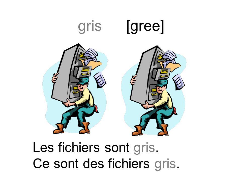 grise [greez] La calculatrice est grise. Cest une calculatrice grise.
