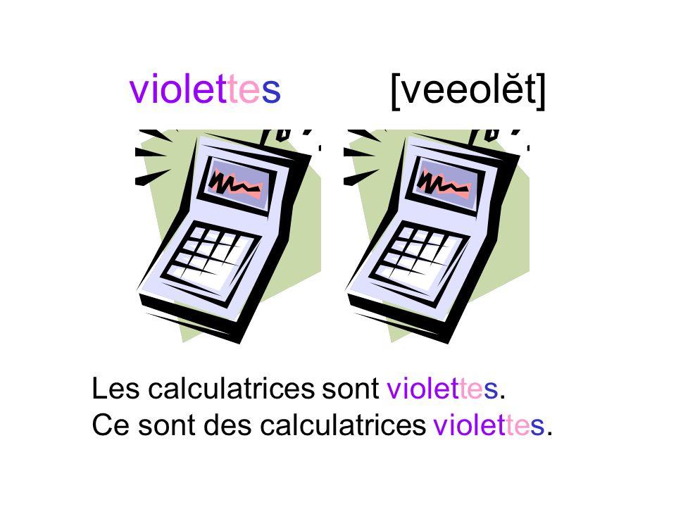 violets[veeolay] Les kleenex sont violets. Ce sont des kleenex violets.