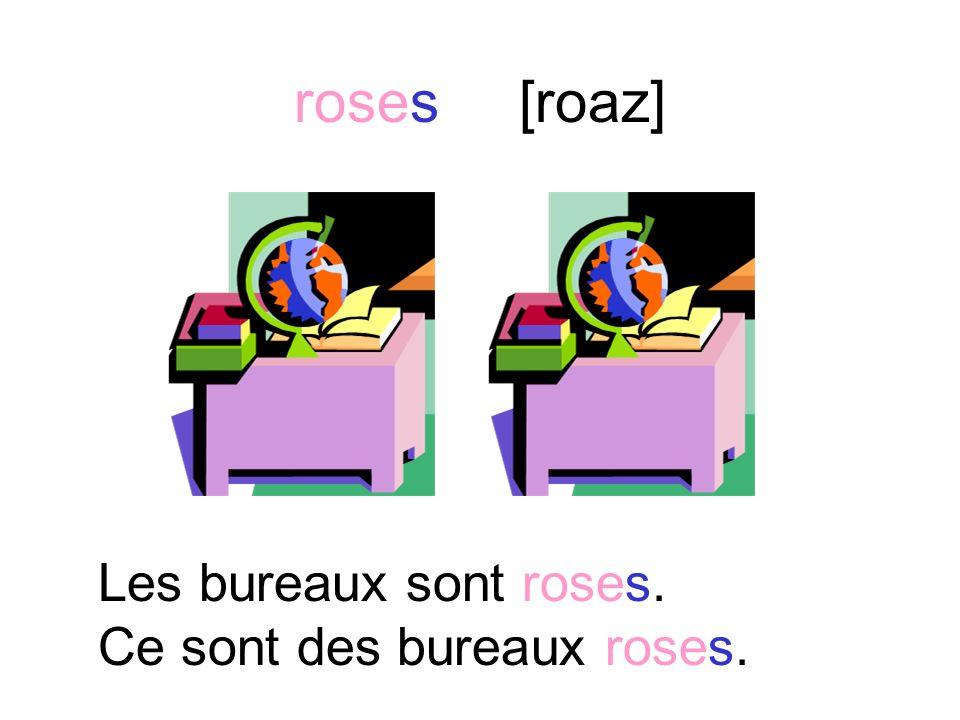 rose [roaz] La chaise est rose. Cest une chaise rose.
