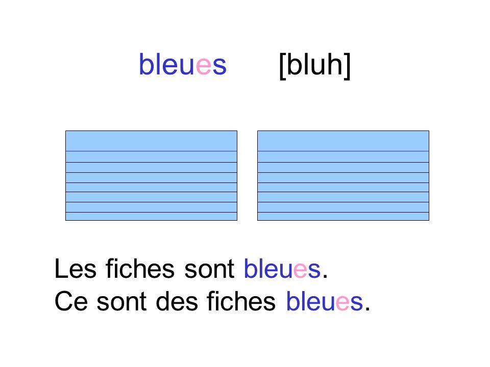 bleues [bluh] Les fiches sont bleues. Ce sont des fiches bleues.