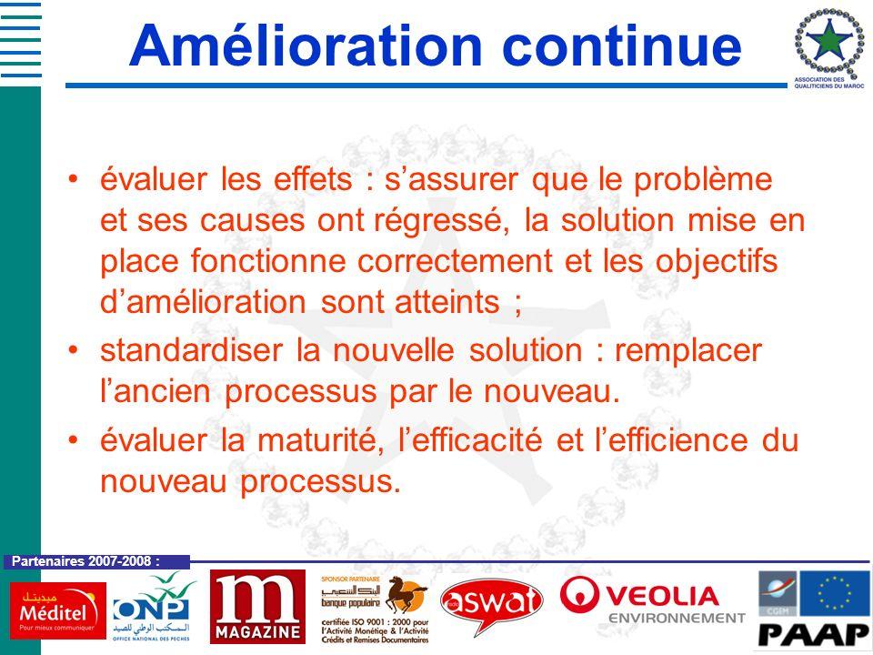 Partenaires 2007-2008 : évaluer les effets : sassurer que le problème et ses causes ont régressé, la solution mise en place fonctionne correctement et