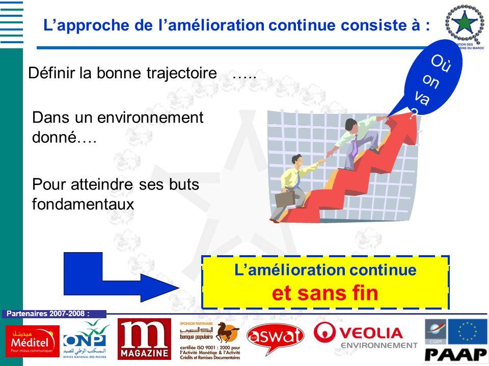 Partenaires 2007-2008 : Lapproche de lamélioration continue consiste à : Définir la bonne trajectoire ….. Dans un environnement donné…. Pour atteindre