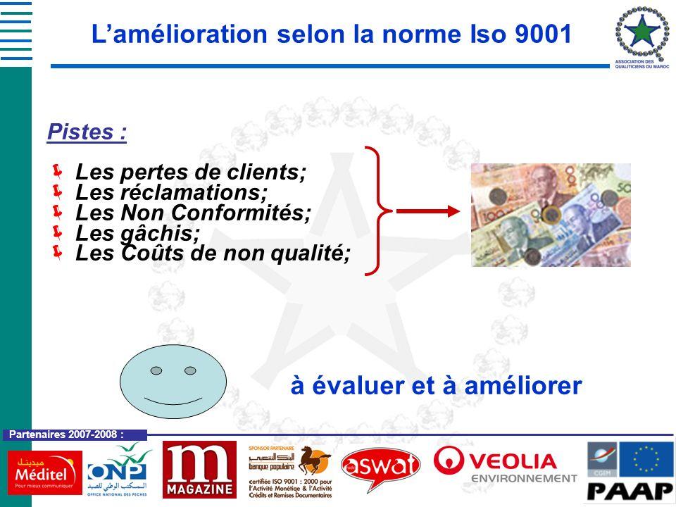 Partenaires 2007-2008 : Pistes : Les pertes de clients; Les réclamations; Les Non Conformités; Les gâchis; Les Coûts de non qualité; Lamélioration sel