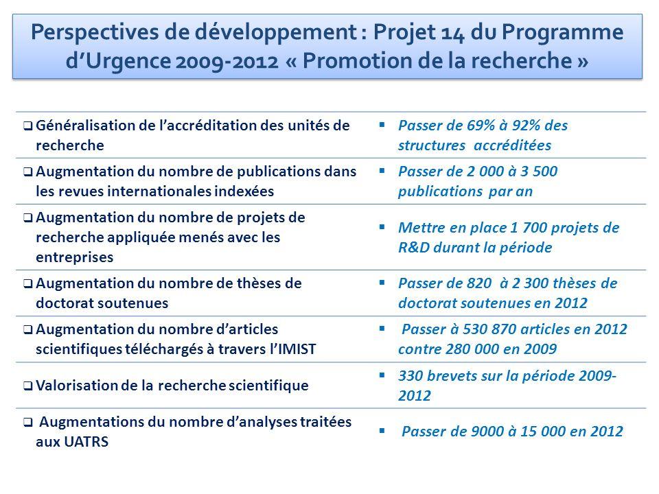 Généralisation de laccréditation des unités de recherche Passer de 69% à 92% des structures accréditées Augmentation du nombre de publications dans le