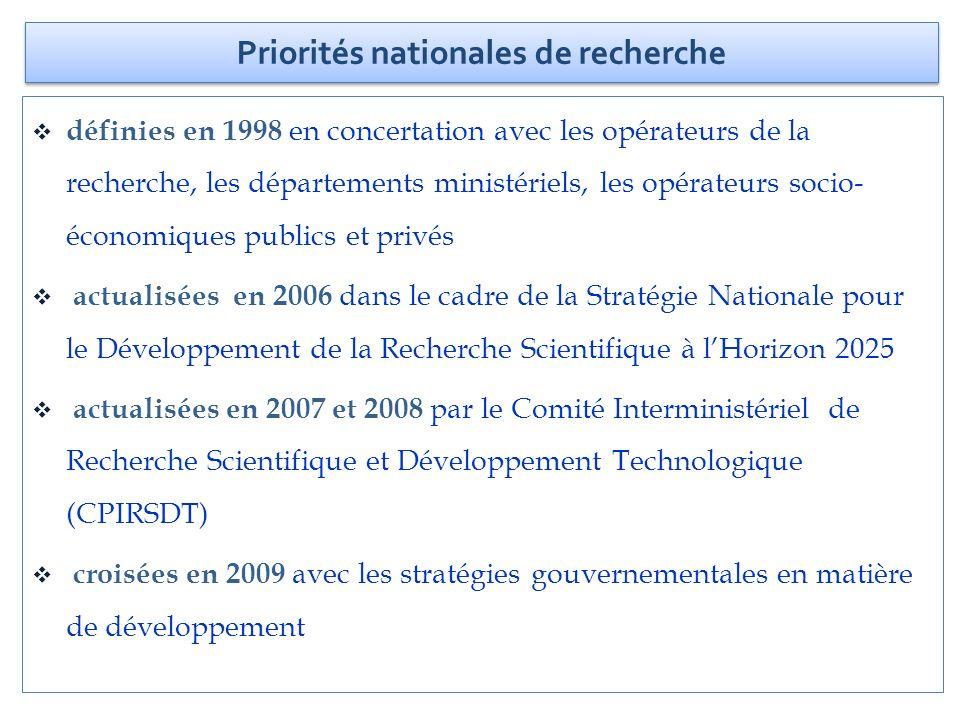 définies en 1998 en concertation avec les opérateurs de la recherche, les départements ministériels, les opérateurs socio- économiques publics et priv