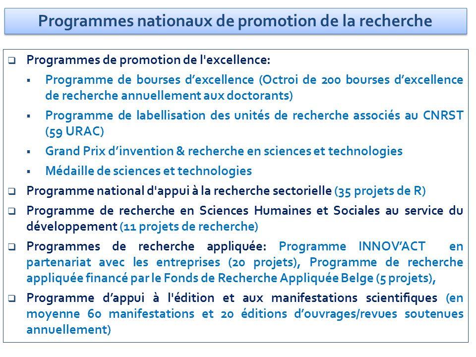 Programmes nationaux de promotion de la recherche Programmes de promotion de l'excellence: Programme de bourses dexcellence (Octroi de 200 bourses dex