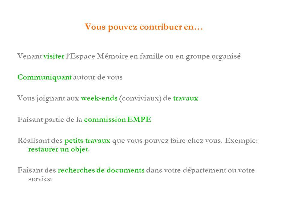 Vous pouvez contribuer en… Venant visiter lEspace Mémoire en famille ou en groupe organisé Communiquant autour de vous Vous joignant aux week-ends (co