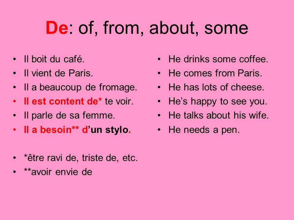 De: of, from, about, some Il boit du café. Il vient de Paris.