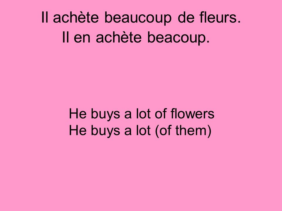 Il achète beaucoup de fleurs. He buys a lot of flowers He buys a lot (of them) Il en achète beacoup.