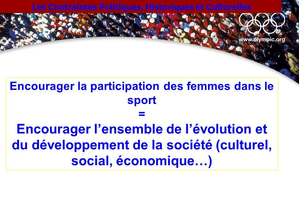 Les Contraintes Politiques, Historiques et Culturelles Encourager la participation des femmes dans le sport = Encourager lensemble de lévolution et du
