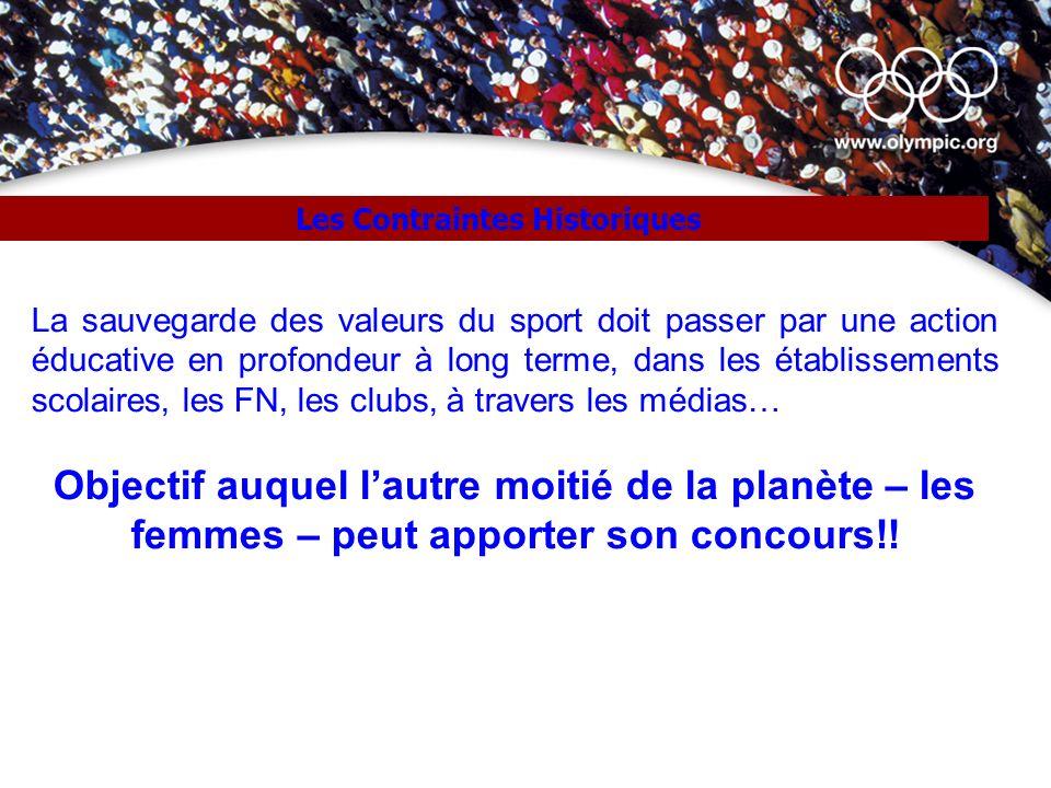 Les Contraintes Historiques La sauvegarde des valeurs du sport doit passer par une action éducative en profondeur à long terme, dans les établissement