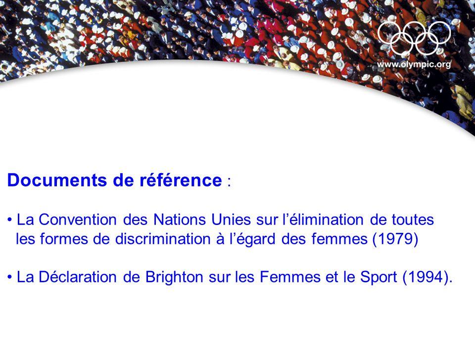 Documents de référence : La Convention des Nations Unies sur lélimination de toutes les formes de discrimination à légard des femmes (1979) La Déclara