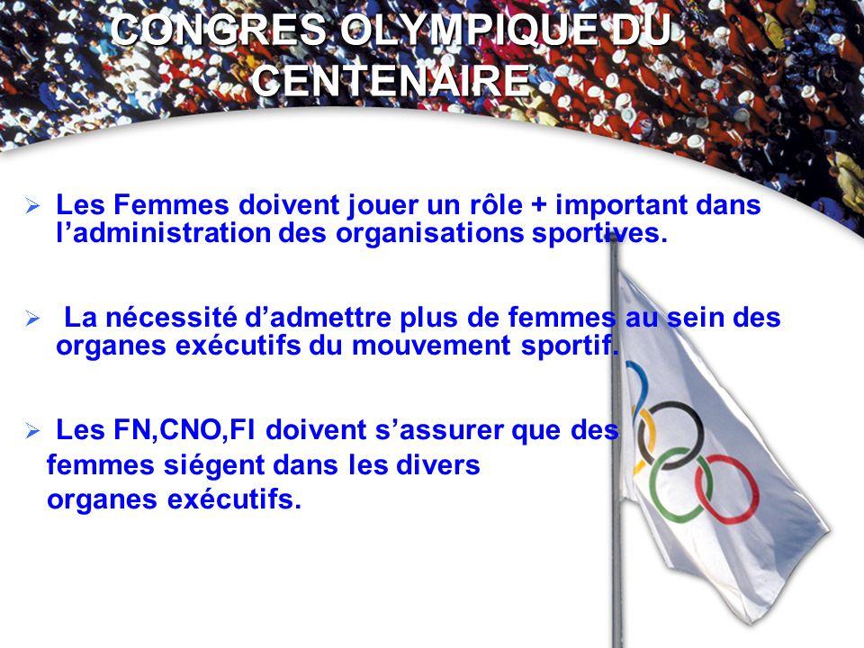 CONGRES OLYMPIQUE DU CENTENAIRE Les Femmes doivent jouer un rôle + important dans ladministration des organisations sportives. La nécessité dadmettre