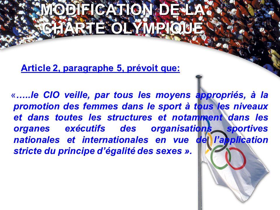 Article 2, paragraphe 5, prévoit que: «…..le CIO veille, par tous les moyens appropriés, à la promotion des femmes dans le sport à tous les niveaux et