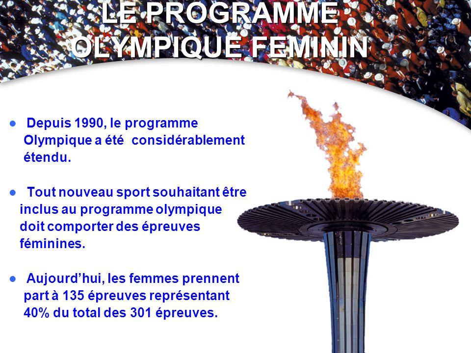 LE PROGRAMME OLYMPIQUE FEMININ Depuis 1990, le programme Olympique a été considérablement étendu. Tout nouveau sport souhaitant être inclus au program