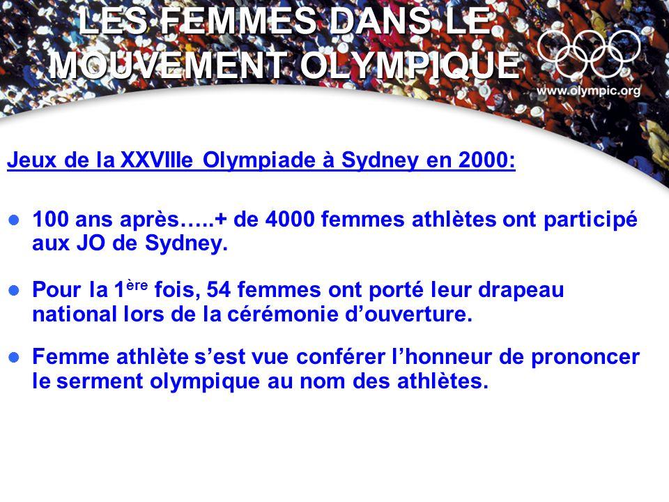 LES FEMMES DANS LE MOUVEMENT OLYMPIQUE Jeux de la XXVIIIe Olympiade à Sydney en 2000: 100 ans après…..+ de 4000 femmes athlètes ont participé aux JO d